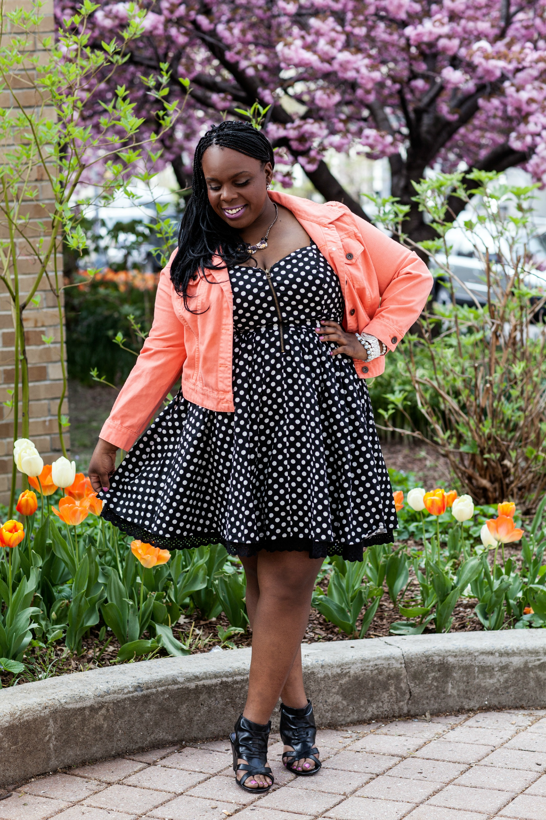 CeCe Olisa Plus Size Polka Dot Dress Plus Size Denim Jacket. PlusSizePrincess
