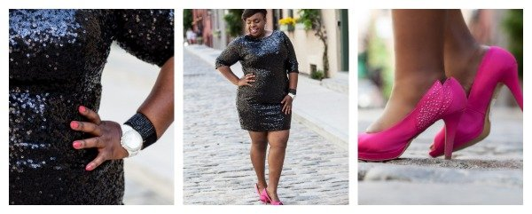 Sequin Plus Size Dress Collage Pink Wide Width Heels