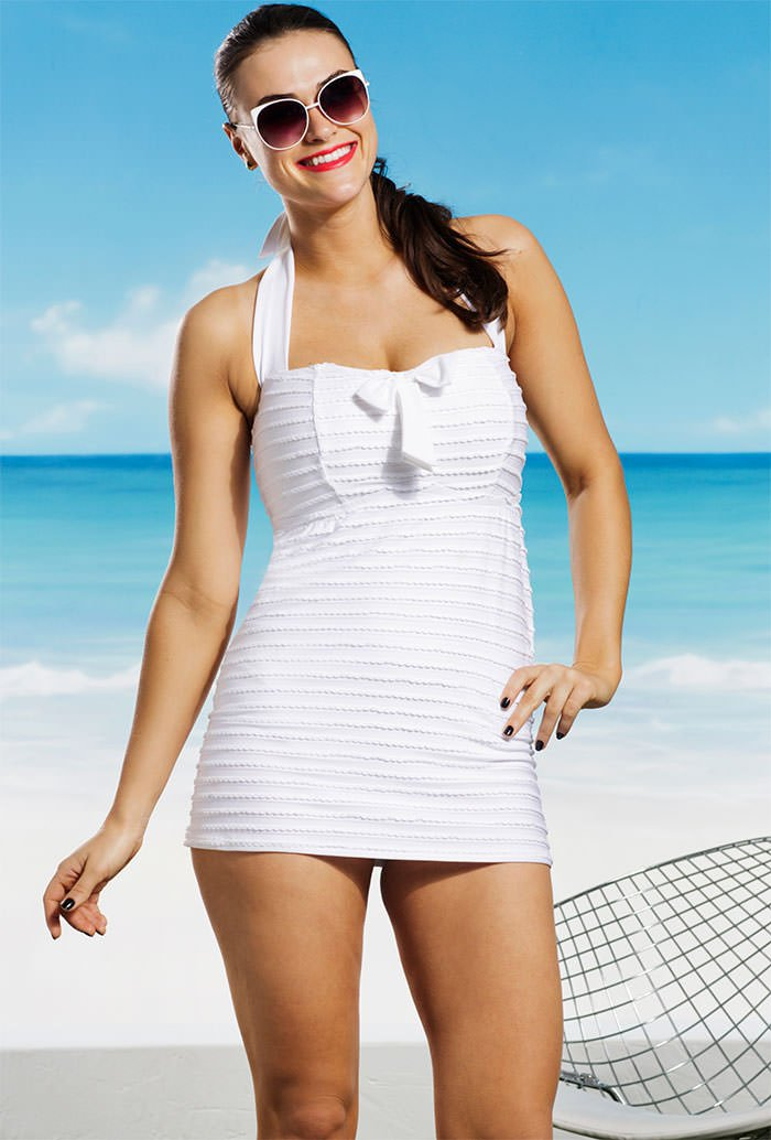 plus size white swimsuit vintage