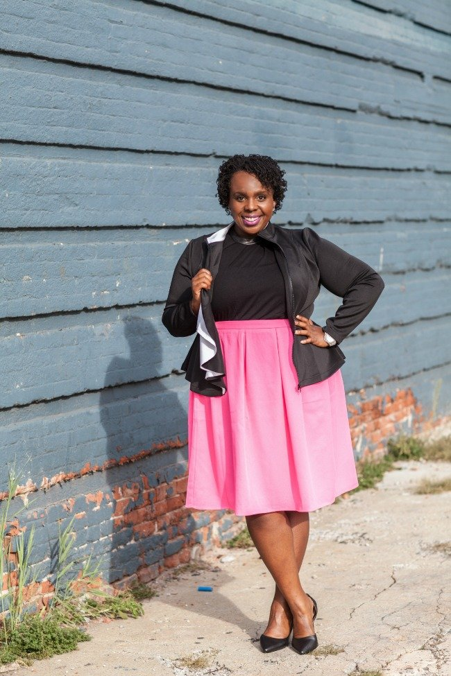 Plus Size Blazer Peplum Plus Size Full Pink Skirt 2