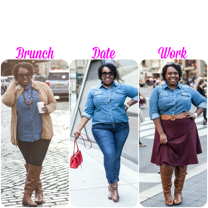 Talbots Plus Size Denim Shirt Three Ways