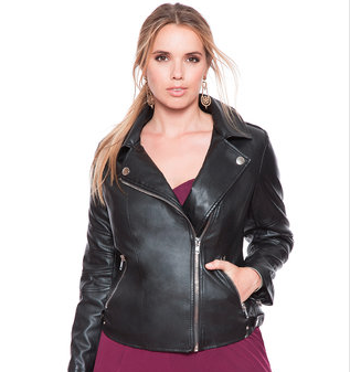 plus size black faux moto jacket