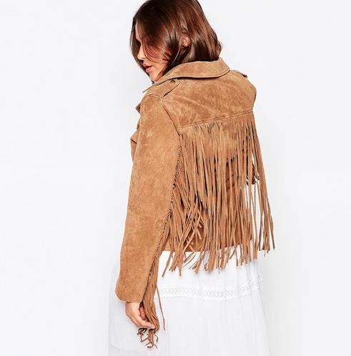plus size suede jacket with fringe