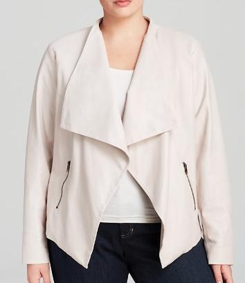plus size faux leather drape jacket