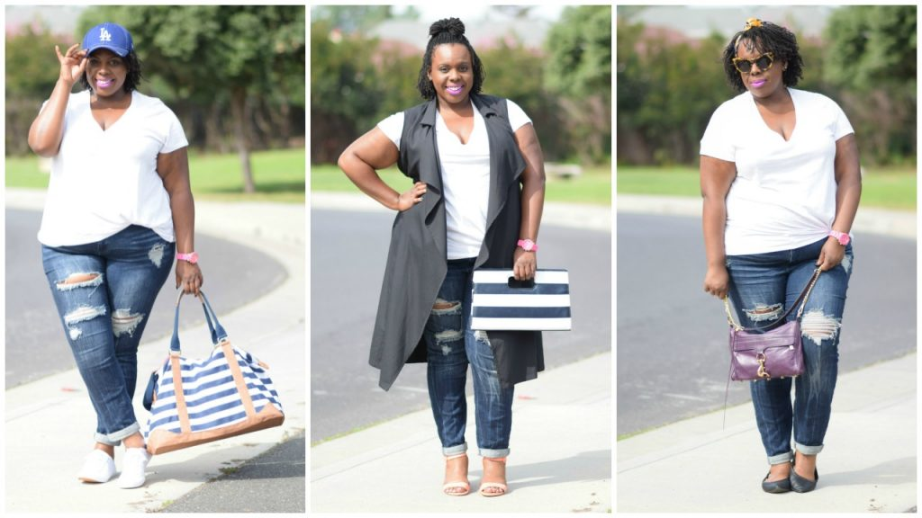 How to style a white t shirt jeans one look three for Tucked in shirt plus size