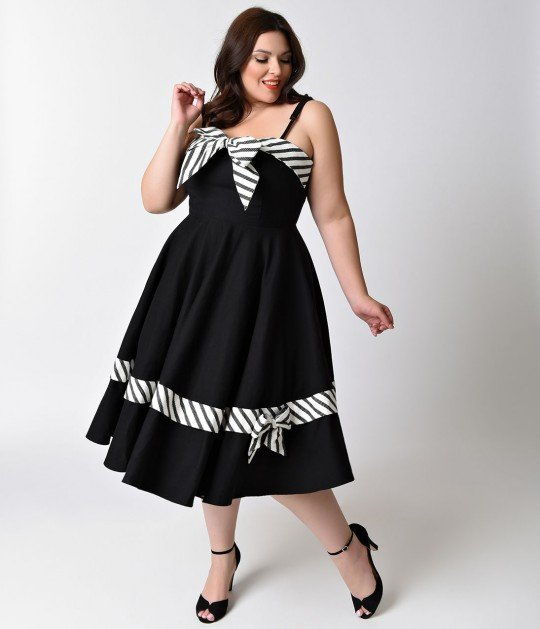 Unique_Vintage_Plus_Size_1950s_Black_White_Scarlett_Swing_Dress_4