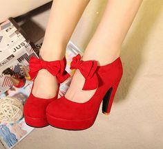 Fashion Vintage Womens Small Bowtie Platform Pumps Ladies Sexy High Heeled Shoes red