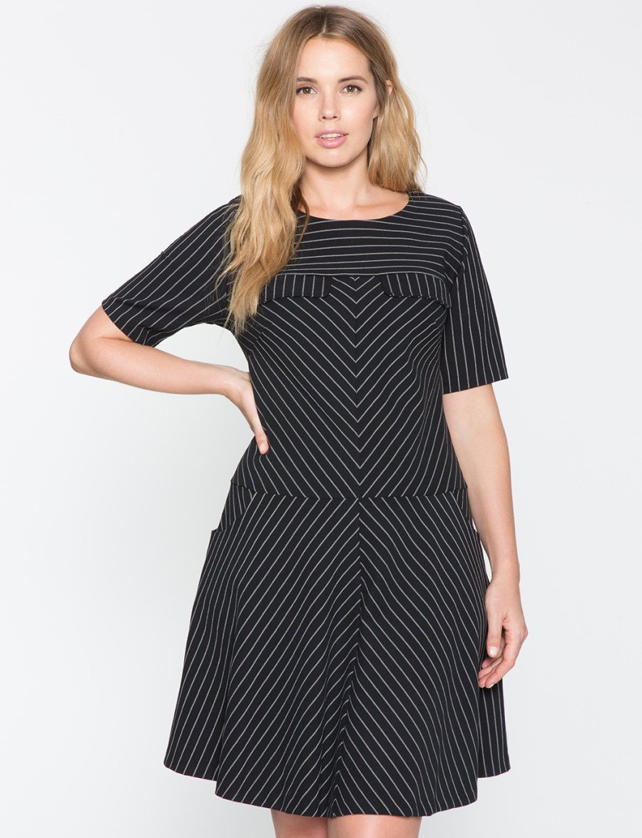 eloquii plus size drop waist dress
